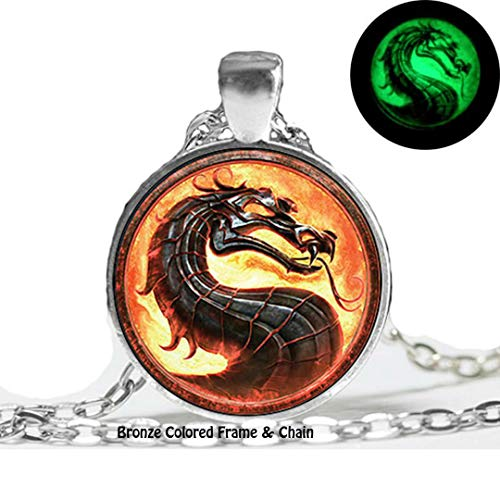 Dan's Collectibles and More Mortal Kombat X Bronze Necklace Glow in The Dark Luminescent Dragon Game Scorpion Movie Sub-Zero Liu Kang Goro w/Gift Box (GlowBronze)