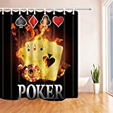 CdHBH Casino Decor Burnning Poker Cards Shower Curtain 71X71 inches Mildew Resistant Polyester Fabric Bathroom Fantastic Decorations Bath Curtains Hooks Included