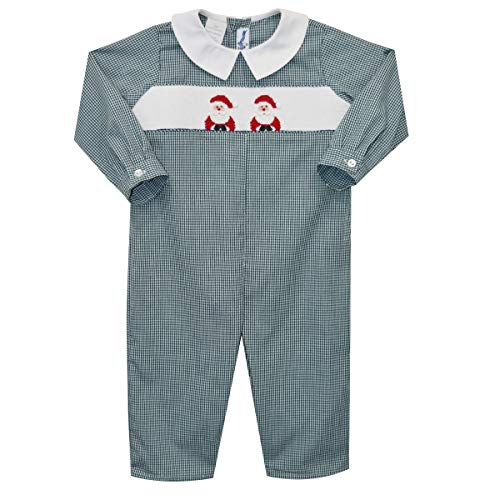 - Silly Goose Santa Hand Smocked Boys Long Sleeve Long Bubble