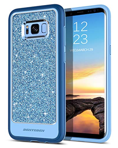 Galaxy S8 Plus Case, Samsung S8 Plus Case, BENTOBEN 2 in 1 Shockproof Drop Protection Hybrid Hard PC Back Cover Coat Bling Glitter PU Leather Soft TPU Bumper Phone Case for Samsung Galaxy S8 Plus Blue