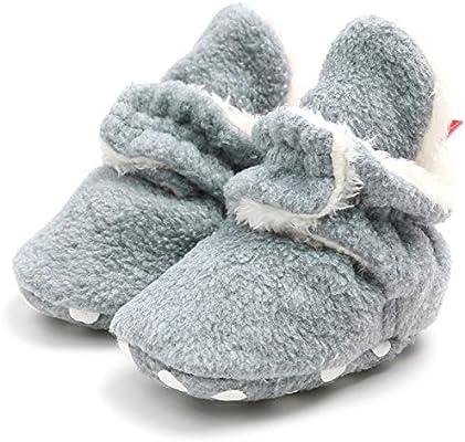 vanberfia Infant Unisex Baby Fleece Lined Bootie Non-Skid Infant Winter Shoes for 0-18Months