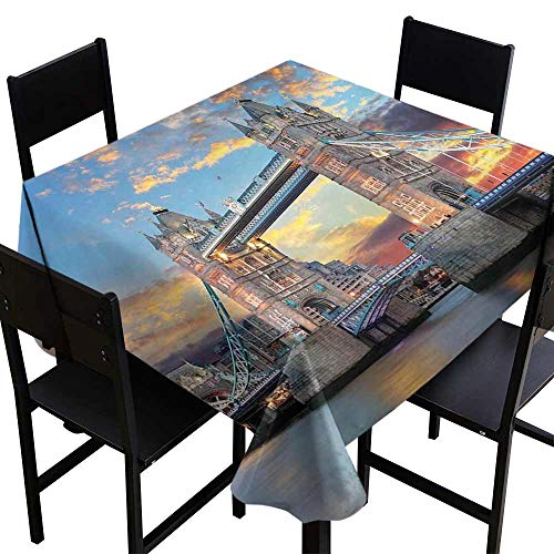 StarsART Fabric Tablecloths for KitchenLondon,Vista of Tower Bridge at Dramatic Sunset Thames River with Grey Clouds,Pale Blue Yellow Tan D60,Rectangle tablecloths