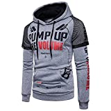 Mens Long Sleeve Blouses Clearance Men's Long Sleeve Printed Hoodie Hooded Sweatshirt Top Tee Outwear Blouse By WEUIE(M, Gray )