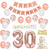 30th Birthday Decorations for Women - 30th Happy Birthday Decoration Gold Rose with Satin Sash, Number 30 Foil Balloon, Pink Happy Birthday Bunting, Happy 30th birthday Cake Topper