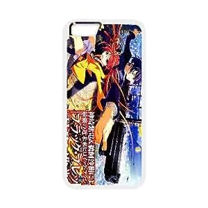 negro Bullet plástico A4 funda iPhone 6 Plus 5.5 pulgadas del teléfono celular de funda funda caja del teléfono celular blanco cubren ALILIZHIA08904