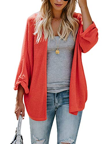 PARIS HILL Womens Long Sleeve Cardigans Oversized Open Front Basic Casual Knit Sweaters Coat Orange XX Large