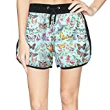 Eoyles Colourful Butterfly Summer Beachwear Quick Dry Beach Shorts for Women Unique Shorts