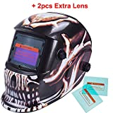 iMeshbean Pro Cool Skull Style Solar Auto-darkening Welding & Grinding Arc Tig Mig Helmet Adjustable Shade 9-13 with 2 Pcs Extra Lens Covers #1052