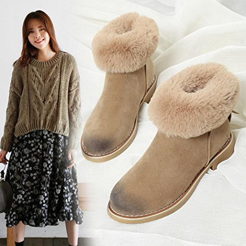 Snow Zips Ankle Winter Boots Girls Women Casual Khaki Warm Freshzone Behind Shoes Eq0wntxE