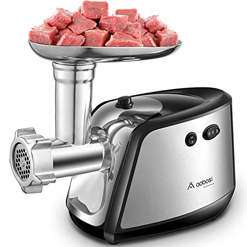 Aobosi Electric Meat Grinder 【1200W MAX】3-IN-1 Stainless Steel Food Grinder with 3 Stainless Steel Grinding Plates,Kubbe & Sausage Attachment|Heavy Duty Motor for Fast ()