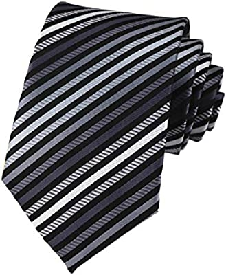 Elfeves Mens Modern Striped Patterned Formal Ties College Daily Woven Neckties