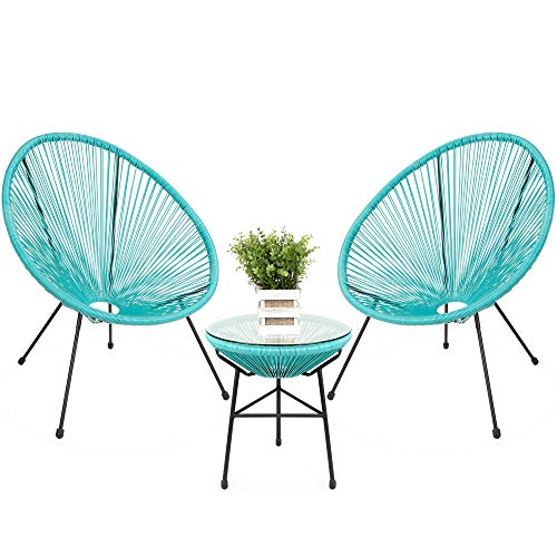 Best Choice Products 3-Piece All-Weather Patio Woven Rope Acapulco Bistro Furniture Set w/Glass Top Table – Light Blue