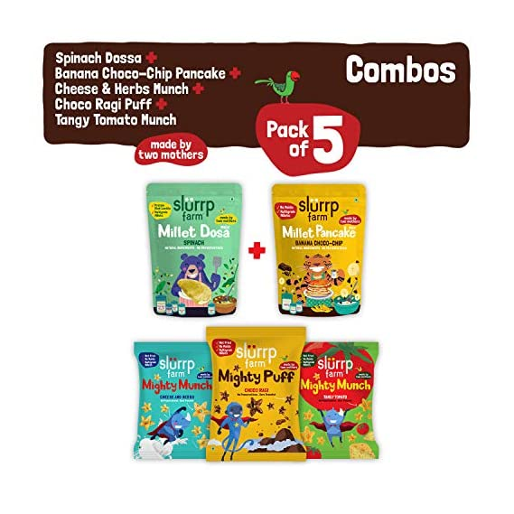 Slurrp Farm Protein Breakfast, 360g with Combo Pack of 5 - Spinach Dosa Mix, Choco-chip Pancake Mix and Pack of 3 Puffs (Ragi Non-Fried Ready to Eat Snack for Kids)