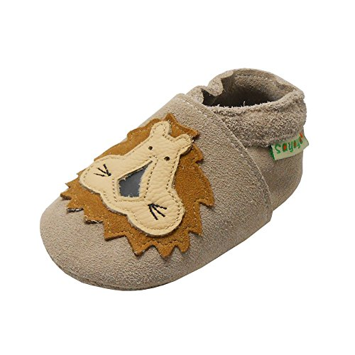Sayoyo Baby Shoes Soft Leather Sole Infant Shoes Toddler Prewalker Shoes with Lion (khaki,18-24 Months)