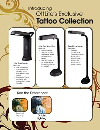 OttLite 18w Desk Table Light Standing Tattoo &