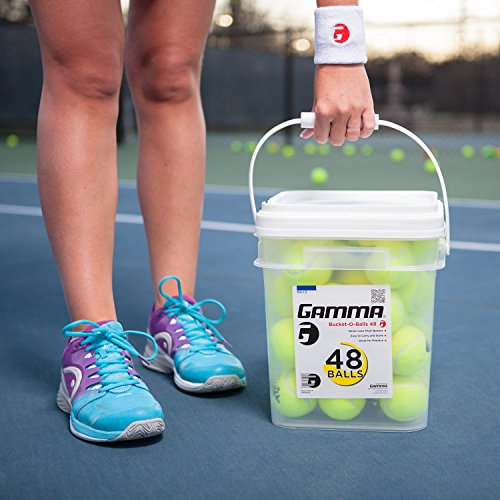 090852772996 - GAMMA Pressureless Tennis Ball Bucket| Case w/48 Practice Balls| Sturdy/Reusable/Portable Bucket to Replace Less Durable Tennis Mesh Bags| Ideal For All Court Types| Gamma Premium Tennis Accessories carousel main 6