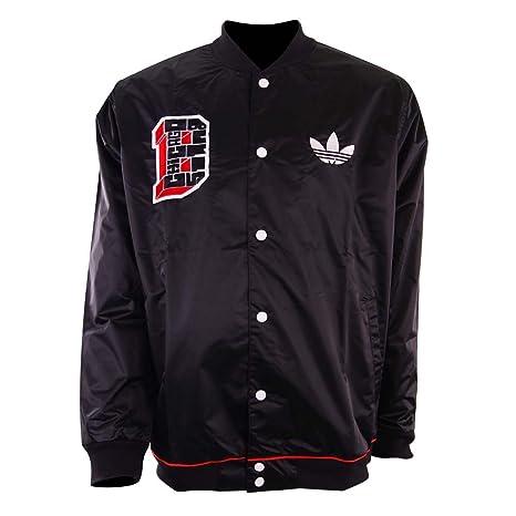 e0ad01f49a5d7 Adidas NBA STD JKT BULL Chaqueta Moda Negro Rojo Blanco para Hombre Chicago  Bulls