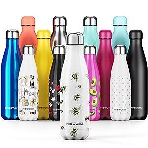 Proworks Bouteille d'eau Isotherme, sans BPA, Gourde INOX Reutilisable pour Maintien Chaud de 12 Heures & du Froid Jusqu…
