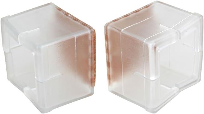 8pcs Square 35x35mm Transparent Silicon Gel Chair Leg Caps