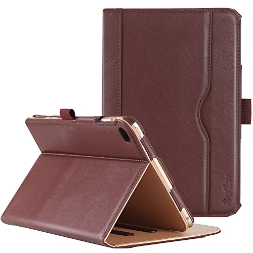 ProCase iPad Mini 4 Case - Leather Stand Folio Case Cover for 2015 Apple iPad Mini 4 (4th Generation iPad Mini, mini4), with Multiple Viewing Angles, auto Sleep/Wake, Document Card Pocket (Brown) ()