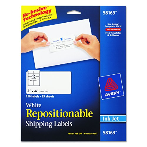 Envelope Label Template (Avery Repositionable Shipping Labels for Inkjet Printers 2