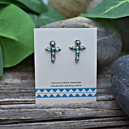 - 15mm Genuine Sleeping Beauty Turquoise Stud Cross Earrings in 925 Sterling Silver, Native American Handmade, Nickle Free for Sensitive Skin