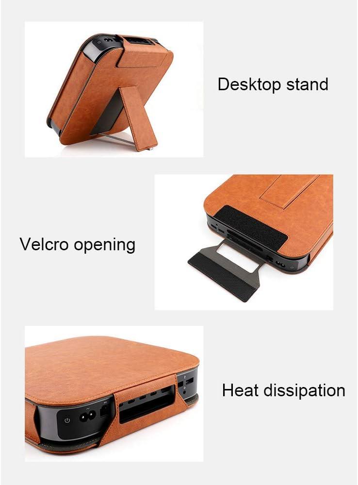 Rot Hosoncovy PU Lederschutzh/ülle mit Desktop-St/änder f/ür Apple MAC Mini 2018 Desktop Computer Host