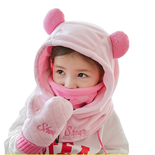 Baby Hats Mittens Girls Boys Full Face Mask Balaclavas Hat Winter Warm Knit Hat Gloves 2Pieces Set (Pink Sheep, 1-3T)