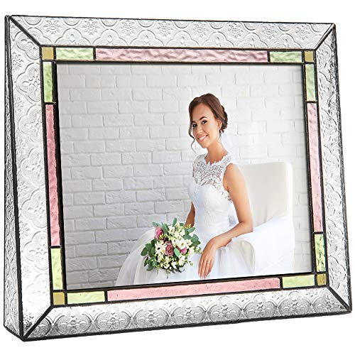 - J Devlin Pic 137-81H Colorful Picture Frame 8x10 Horizontal Photo Frame Pale Purple Green Amber Stained Glass