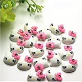 30pcs Kitty Cat Kitten Bow with Rhinestone Flat