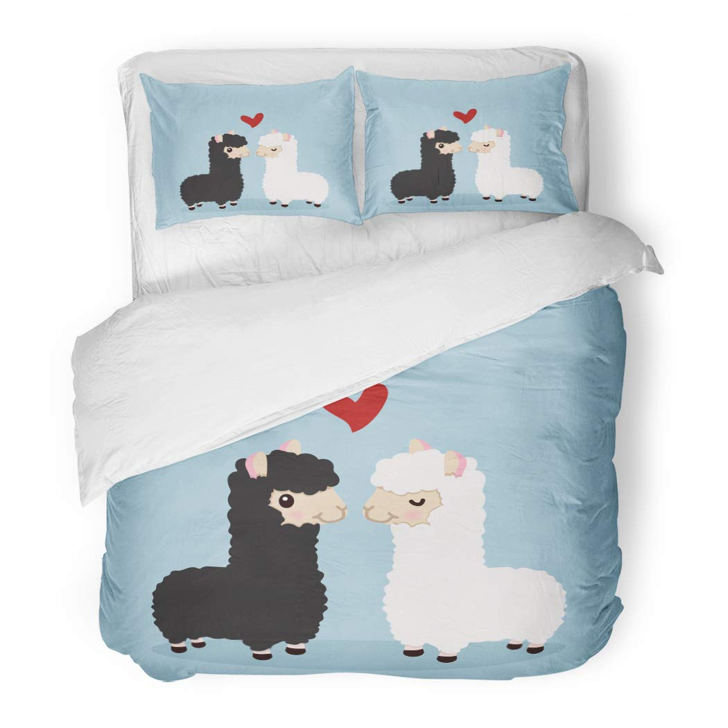Emvency Bedding Duvet Cover Set Twin (1 Duvet Cover + 1 Pillowcase) America Alpaca Couple in Love Animal Black Cartoon Character Children Color Cute Hotel Quality Wrinkle and Stain Resistant