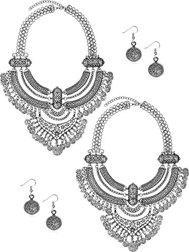 (Yaomiao 2 Pack Coin Necklace and Earrings Punk Ethnic Style Jewelry Set Bib Bohemian Boho Statement Necklace for Women (Silver))