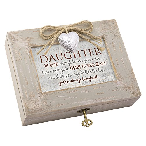 Daughter Live Life Imagined Distressed Wood Locket Jewelry Music Box Plays Tune You Light Up My Life by Cottage Garden