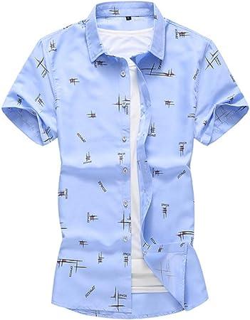 CSDM Camisa de Hombre Talla 7XL Camisa con Estampado de Letras Nuevo Camisa de Vestir para Hombre Camisas de Marca Casual Slim Fit Business Camisa de Manga Corta: Amazon.es: Hogar