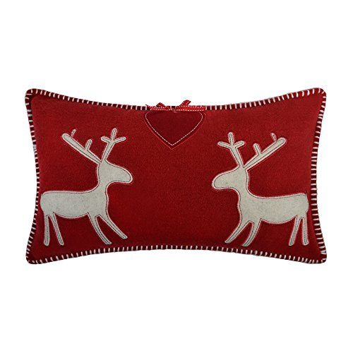 JWH JW Christmas Accent Pillow Cases Decorative Cushion Covers Applique Home Sofa Car Bed Room Decor 12 x 20 Inch Deers in Love Bowknot