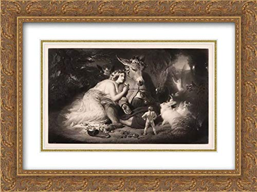 Sir Edwin Henry Landseer - 24x18 Gold Ornate Frame and Double Matted Museum Art Print - A Midsummer Night's Dream (Shakespeare, Act 4, Scene 1)
