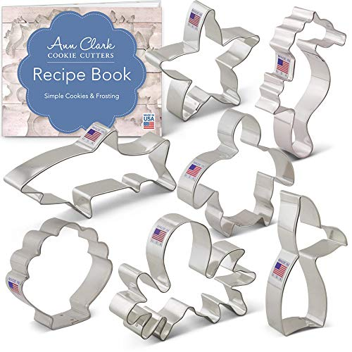 Under the Sea Cookie Cutter Set with Recipe Booklet -7 piece - Seashell, Octopus, Seahorse, Shark, Starfish, Turtle, Mermaid Tail - Ann Clark - USA Made Steel