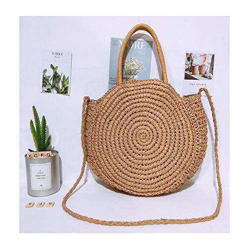 - 2019 Round Straw Beach Bag Vintage Handmade Woven Shoulder Bag Raffia circle Rattan bags Bohemian Summer Vacation Casual Bags,Brown