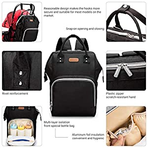 Diaper Bag Backpack, hopopower Multifunction Travel Backpack with USB Charging Port Best Gifts for Mom Baby Shower Baby…