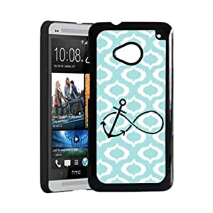 Anchored Forever Aqua Ikat Hipster Aqua Silicon Bumper HTC One M7 Case - Fits HTC One M7