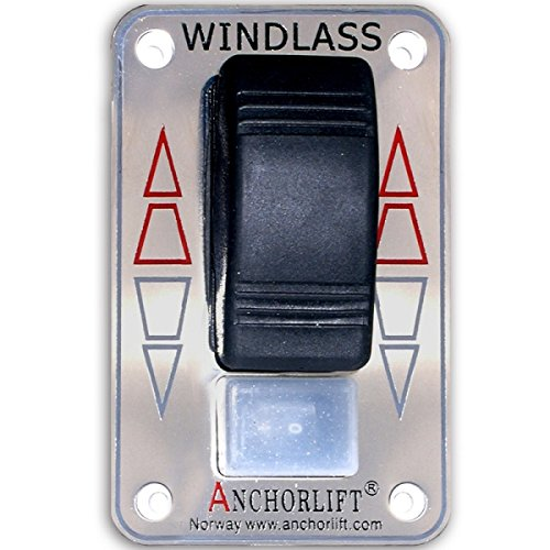 Anchorlift Windlass Rocker Switch w/Safety, Model: 90801, Stainless Steel Cover Plate by Anchorlift
