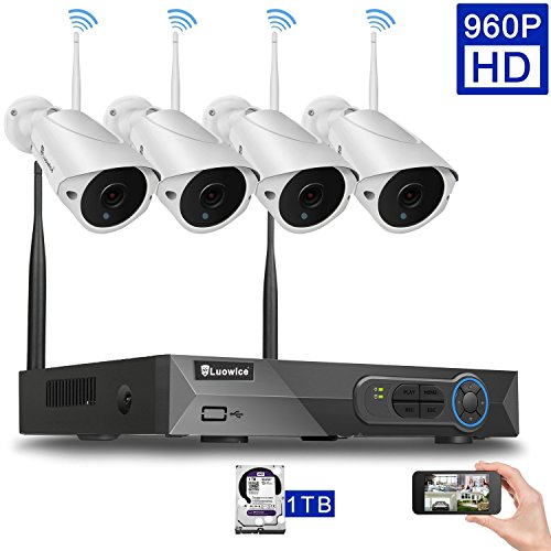 Luowice 4CH 960p HD Wireless Home Security Camera System with 4x 960p WIFI Indoor Outdoor Bullets Surveillance Cameras 100ft IR Night Vision with 1 TB HDD Preinstalled