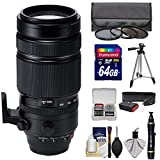 Fujifilm 100-400mm f/4.5-5.6 XF R LM OIS WR Zoom Lens with 3 Filters + 64GB Card + Tripod Kit for X-A2, X-E2, X-E2s, X-M1, X-T1, X-T10, X-Pro2 Cameras