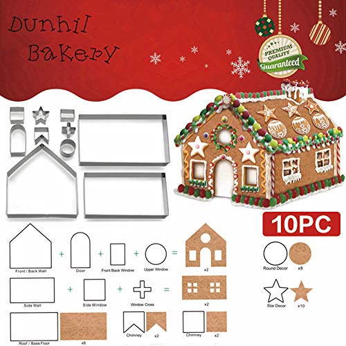 10 Pcs Christmas Red House Cookie Cutter Set, Gingerbread cookie Mold kit, Chocolate House, Haunted House, Gift Box Packaging (Christmas House) ()