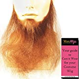 """Bundle 2 items: 16"""" Long Full Face Men's Beard Human Hair Duck Dynasty Hand-Made Fake Facial Biker Amish Lacey Wigs Color Med Brown, MaxWigs Costume Wig Care Guide"""
