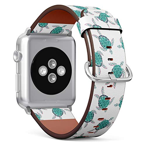 (Sea Turtle Pattern) Patterned Leather Wristband Strap for Apple Watch Series 4/3/2/1 gen,Replacement for iWatch 42mm / 44mm Bands