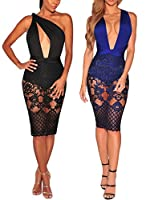 Women Sexy Lace Evening Dress Bodycon V Neck Sparkly Cocktail Pencil Outfits Bandage Backless Swimsuit