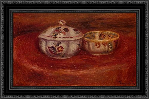 Earthenware Sugar Bowl - Sugar Bowl and Earthenware Bowl 24x18 Black Ornate Wood Framed Canvas Art by Renoir, Pierre Auguste