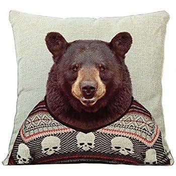 YOUR SMILE Animal Cotton Linen Square Decorative Throw Pillow Case Cushion Cover 18x18 Inch(44CM44CM) (Color#9)