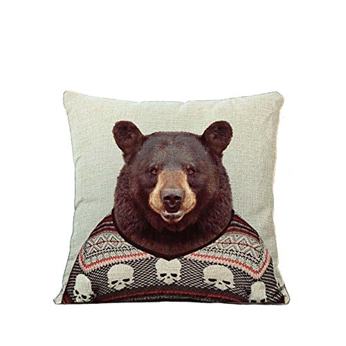 YOUR SMILE Animal Cotton Linen Square Decorative Throw Pillow Case Cushion Cover 18x18 Inch(44CM44CM) (Animal Pattern)